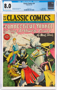 Classic Comics #24 A Connecticut Yankee in King Arthur's Court - First Edition (Gilberton, 1945) CGC VF 8.0 Off-white to...