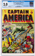 Golden Age (1938-1955):Superhero, Captain America Comics #3 (Timely, 1941) CGC GD 2.0 Off-white pages....