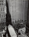 Photographs, Berenice Abbott (American, 1898-1991). Trinity Church and Wall Street Towers, 1934. Gelatin silver, printed later. 9-3/8...