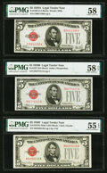 Small Size:Legal Tender Notes, Fr. 1526 $5 1928A Legal Tender Note. PMG Choice About Unc 58;. Fr. 1527 $5 1928B Legal Tender Note. PMG Choice About Unc 5... (Total: 3 notes)