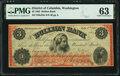 Obsoletes By State:District of Columbia, Washington, DC- Bullion Bank $3 July 4, 1862 G24a PMG Choice Uncirculated 63.. ...