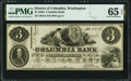 Obsoletes By State:District of Columbia, Washington, DC- Columbia Bank $3 Oct. 20, 1852 G4 PMG Gem Uncirculated 65 EPQ.. ...