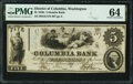 Obsoletes By State:District of Columbia, Washington, DC- Columbia Bnk $5 Aug. 25, 1852 G6 PMG Choice Uncirculated 64.. ...