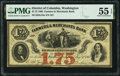 Obsoletes By State:District of Columbia, Washington, DC- Farmers & Merchants Bank $1.75 Aug. 1,1862 G18a PMG About Uncirculated 55 EPQ.. ...