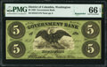 Obsoletes By State:District of Columbia, Washington, DC- Government Bank $5 Nov. 15, 1862 Remainder G6 PMG Gem Uncirculated 66 EPQ.. ...