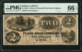Obsoletes By State:Indiana, La Porte, IN- La Porte & Plymouth Plank Road Company $2 June 3,1857 Wolka 1210-07 PMG Gem Uncirculated 66 EPQ.. ...