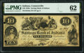 Connersville, IN- Savings Bank of Indiana $10 Aug. 23, 1854 G2a Wolka 0425-03 PMG Uncirculated 62