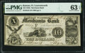 Obsoletes By State:Kansas, Fort Leavenworth, KS (Terr.)- Merchants Bank $10 Aug. 21, 1854 G8 Whitfield Q 133 PMG Choice Uncirculated 63 EPQ.. ...