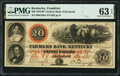 Obsoletes By State:Kentucky, Frankfort, KY- Farmers Bank of Kentucky $20 Aug. 3, 1859 G226a Hughes 261 PMG Choice Uncirculated 63 EPQ.. ...