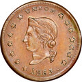 "1863 Token Herinton's, Sewing Machines, Fuld-225AK1a, MS64 Brown NGC. Detroit, MI. Incorrectly described by NGC as ""..."