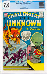 Challengers of the Unknown #1 (DC, 1958) CGC FN/VF 7.0 Off-white to white pages