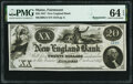 Obsoletes By State:Maine, Fairmount, ME- New England Bank $20 Oct. 1, 1857 Remainder G4 Wait 2 PMG Choice Uncirculated 64 EPQ.. ...
