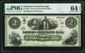 Obsoletes By State:Maryland, Greensborough, MD- Farmers & Merchants Bank of Greensborough $2 Aug. 15, 1862 G4a Shank 58.1.4 PMG Choice Uncirculated 64 ...
