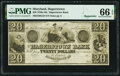 Obsoletes By State:Maryland, Hagerstown, MD- Hagerstown Bank $20 18__ Remainder G52 PMG Gem Uncirculated 66 EPQ.. ...