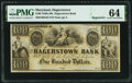 Hagerstown, MD- Hagerstown Bank $100 18__ Remainder G64 PMG Choice Uncirculated 64