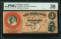 Detroit, MI- State Bank of Michigan $3 Feb. 1864 Remainder G6a Lee DET-10-3 PMG Choice About Unc 58