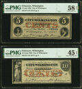 Obsoletes By State:Delaware, Wilmington, DE- City of Wilmington 5¢; 10¢ Nov. 1, 1862 PMG Choice About Unc 58 EPQ; PMG Choice Extremely Fine 45 EPQ.. ... (Total: 2 notes)