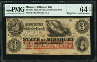 Unknown Location, MO- State of Missouri (Secessionist) $3 186_ Remainder Cr. 17B PMG Choice Uncirculated 64 EPQ.<...