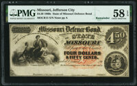 Unknown Location, MO- State of Missouri (Secessionist) $4.50 186_ Remainder Cr. 15 PMG Choice About Unc 58 EPQ.</...