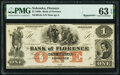 Obsoletes By State:Nebraska, Florence, NE- Bank of Florence $1 18__ Remainder G2a PMG Choice Uncirculated 63 EPQ.. ...