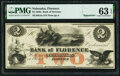 Florence, NE- Bank of Florence $2 18__ Remainder G4a PMG Choice Uncirculated 63 EPQ