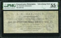 Obsoletes By State:Pennsylvania, Philadelphia, PA- S.K. Harzfeld, Numismatist $1 Advertising Note ND (ca. 1877-1881/82) PMG About Uncirculated 55 EPQ.. ...