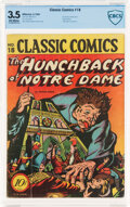 Golden Age (1938-1955):Classics Illustrated, Classic Comics #18 (1A) The Hunchback of Notre Dame - First Edition (Gilberton, 1944) CBCS VG- 3.5 Off-white pages....