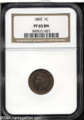 """Proof Indian Cents: , 1865 1C PR65 Brown NGC. Even though designated as """"Brown"""" ..."""