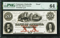 Clarksville, TN- Bank of America $20 18__ as G64a S-C Cr.-B.Ame-20-2Pf Proof PMG Choice Uncirculated 64