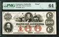 Clarksville, TN- Bank of America $100 18__ as G68 S-C Cr-B.Ame-100-2Pf PMG Choice Uncirculated 64