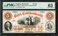 Richmond, VA- Bank of the Commonwealth $5 18__ as G2a J-L BR15-25 Proof PMG Choice Uncirculated 63