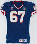 Football Collectibles:Uniforms, 1994 Kent Hull Game Worn Buffalo Bills Jersey with Equipment Manager Provenance....