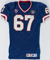 1994 Kent Hull Game Worn Buffalo Bills Jersey with Equipment Manager Provenance