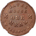 1864 J. M. Daggert & Co., Bates House One Meal Token, Fuld-220A-2a, MS65 Brown NGC. Dunleith, IL. Smooth, satiny lus...