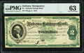 Montgomery, AL- Alabama Savings Bank $2 Certificate of Deposit Jan. 1, 1873 PMG Choice Uncirculated 63