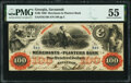Savannah, GA- Merchants and Planters Bank $100 June 1,1860 G16b PMG About Unc 55