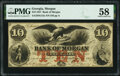 Obsoletes By State:Georgia, Morgan, GA- Bank of Morgan $10 Mar. 9, 1857 G12a PMG Choice About Unc 58.. ...