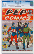 Golden Age (1938-1955), Pep Comics #36 (MLJ, 1943) CGC VG- 3.5 White pages....