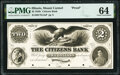 Obsoletes By State:Illinois, Mount Carmel, IL- Citizens Bank $2 18__ as G4a Proof PMG Choice Uncirculated 64.. ...