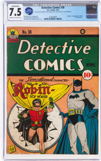 Detective Comics #38 (DC, 1940) CGC Conserved VF- 7.5 Cream to off-white pages