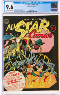 All Star Comics #18 (DC, 1943) CGC NM+ 9.6 Off-white to white pages