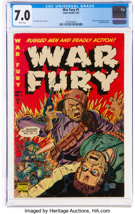 War Fury #1 (Comic Media, 1952) CGC FN/VF 7.0 White pages....