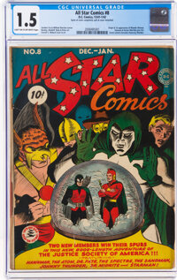 All Star Comics #8 (DC, 1942) CGC FR/GD 1.5 Light tan to off-white pages