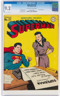 Golden Age (1938-1955):Superhero, Superman #27 (DC, 1944) CGC NM- 9.2 Off-white to white pages....