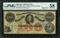 Unknown Location, MO- State of Missouri (Secessionist) $100 186_ Remainder Cr. 19 PMG Choice About Unc 58