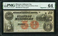 Unknown Location, MO- State of Missouri (Secessionist) $50 186_ Remainder Cr. 20 PMG Choice Uncirculated 64.</