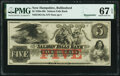 Obsoletes By State:New Hampshire, Rollinsford, NH- Salmon Falls Bank $5 18__ Remainder G14a PMG Superb Gem Unc 67 EPQ.. ...