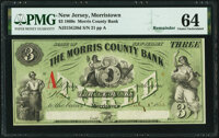 Morristown, NJ- Morris County Bank $3 July 1, 1862 Remainder G26d PMG Choice Uncirculated 64