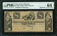 Paterson, NJ- Peoples' Bank of Paterson $8 18__ Remainder G44 PMG Choice Uncirculated 64