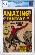 Silver Age (1956-1969):Superhero, Amazing Fantasy #15 Signed by Steve Ditko and Stan Lee (Marvel, 1962) CGC FN- 5.5 Cream to off-white pages....